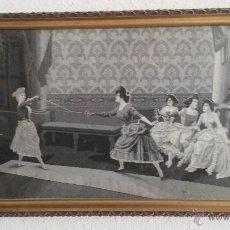 Varios objetos de Arte: SILK WEAVING-14X7 .WOMEN FENCING, D.A. PEREZ . HILO DE SEDA DE LYON. Lote 45658725