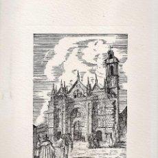 Varios objetos de Arte: LAMINA - LITOGRAFIA / GRABADO - ANTEQUERA - ANTIGUA COLEGIATA STA MARIA LA MAYOR - GRABADOR PP . Lote 47010163