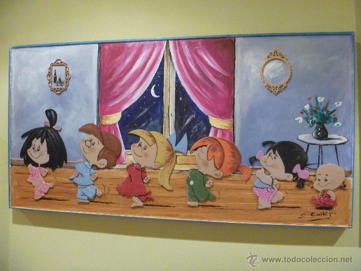 FAMILIA TELERIN PRECIOSO ÓLEO MIXTO PERSONALIZADO REGALO PERFECTO IDEAL DECORACION INFANTIL (Arte - Varios Objetos de Arte)