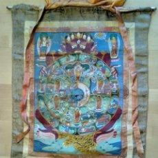 Varios objetos de Arte: LA RUEDA DE LA VIDA. PINTURA SOBRE TELA NEPAL BUDISMO. ORIGINAL ANTIGUO 70 X 100 CM. Lote 47087157