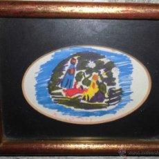 Varios objetos de Arte: ANTIGUO CUADRO PINTURA DE NACIMIENTO BELEN FIRMADO ILEGIBLE. Lote 47341871
