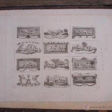 Varios objetos de Arte: GRABADO CON 12 VIÑETAS DE ESCENAS RELACIONADAS CON LA CAZA. Lote 47401573