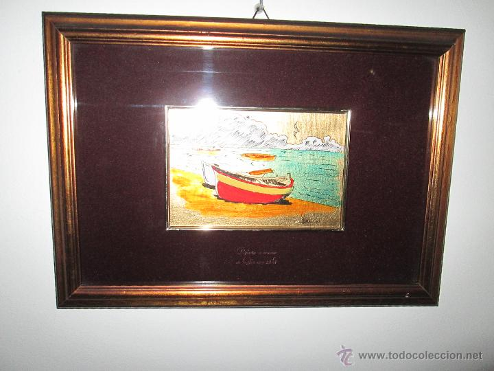 Varios objetos de Arte: CUADRO CON CRISTAL-PINTURA-DANILO-PASPARTÚS-SOBRE ORO 22 KTS-PINTADO A MANO-35X25-15,5X10 CMS-VER F - Foto 3 - 47709448