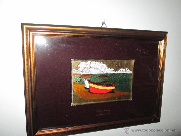 Varios objetos de Arte: CUADRO CON CRISTAL-PINTURA-DANILO-PASPARTÚS-SOBRE ORO 22 KTS-PINTADO A MANO-35X25-15,5X10 CMS-VER F - Foto 4 - 47709448