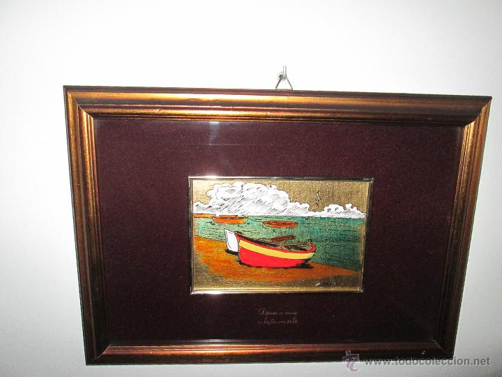 Varios objetos de Arte: CUADRO CON CRISTAL-PINTURA-DANILO-PASPARTÚS-SOBRE ORO 22 KTS-PINTADO A MANO-35X25-15,5X10 CMS-VER F - Foto 5 - 47709448
