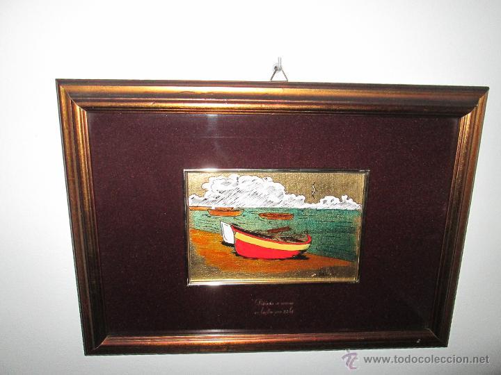 Varios objetos de Arte: CUADRO CON CRISTAL-PINTURA-DANILO-PASPARTÚS-SOBRE ORO 22 KTS-PINTADO A MANO-35X25-15,5X10 CMS-VER F - Foto 7 - 47709448