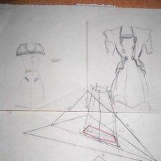 Varios objetos de Arte: PINTURA MADRILEÑA ANTIGUO DIBUJO DE RAFAEL REYES TORRENT MODELO VESTIDOS SEÑORA. Lote 47856318