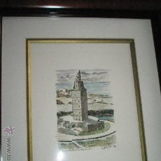 Varios objetos de Arte: (T)-CUADRO CON PLUMILLA ORIGINAL DE EMILIO CELEIRO-TORRE DE HÉRCULES-1982-50X45 CMS.CON MARCO:. Lote 28240647