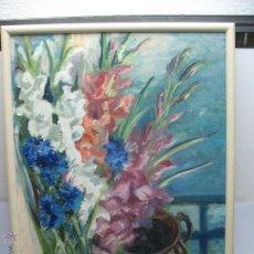 Varios objetos de Arte: AUTOR JS DE OUÑA - ANTIGUA PINTURA EN TELA DE JARRÓN CON FLORES. Lote 48515257