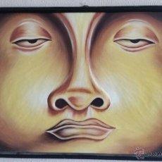 Varios objetos de Arte: CUADRO ROSTRO CARA DE BUDA EN RELIEVE TALLADO EN MADERA 92*62 ARTE PINTURA BUDISMO. Lote 57364355