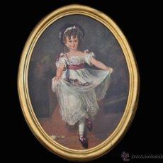 Varios objetos de Arte: BELLO CUADRO DE MISS MURRAY THOMAS LAWRENCE FALSO ÓLEO SIMULANDO PINTURA. Lote 49330169