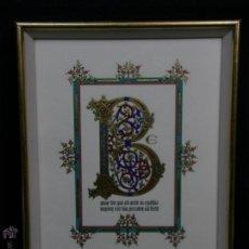 Art: GOUACHE Y DORADO LETRA CAPITULAR BEATUS VIR TEXTO TRABAJO INDIO 33,5X25,5CMS. Lote 207057715