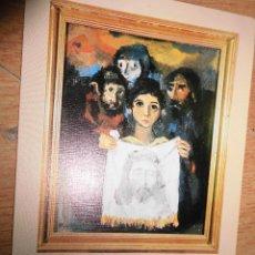 Varios objetos de Arte: PINTURA MADRILEÑA TARJETA ORIGINAL DEFUNCION DEL PINTOR RAFAEL REYES TORRENT 1984. Lote 49567970