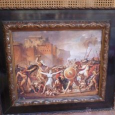Varios objetos de Arte: ESTAMPACIÓN A COLOR EN METAL, MARCO ANTIGUO, EL RAPTO DE LAS SABINAS. Lote 49828251