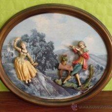 Varios objetos de Arte: CUADRO OVALADO RELIEVE - MOTIVO CAMPESTRE - HOMBRE TOCANDO EL VIOLÍN A MUJER (ITALIA). Lote 49987330
