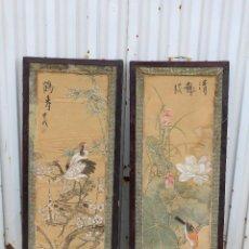 Varios objetos de Arte: PAREJA DE CUADROS CHINOS PINTADOS EN SEDA. Lote 194544215