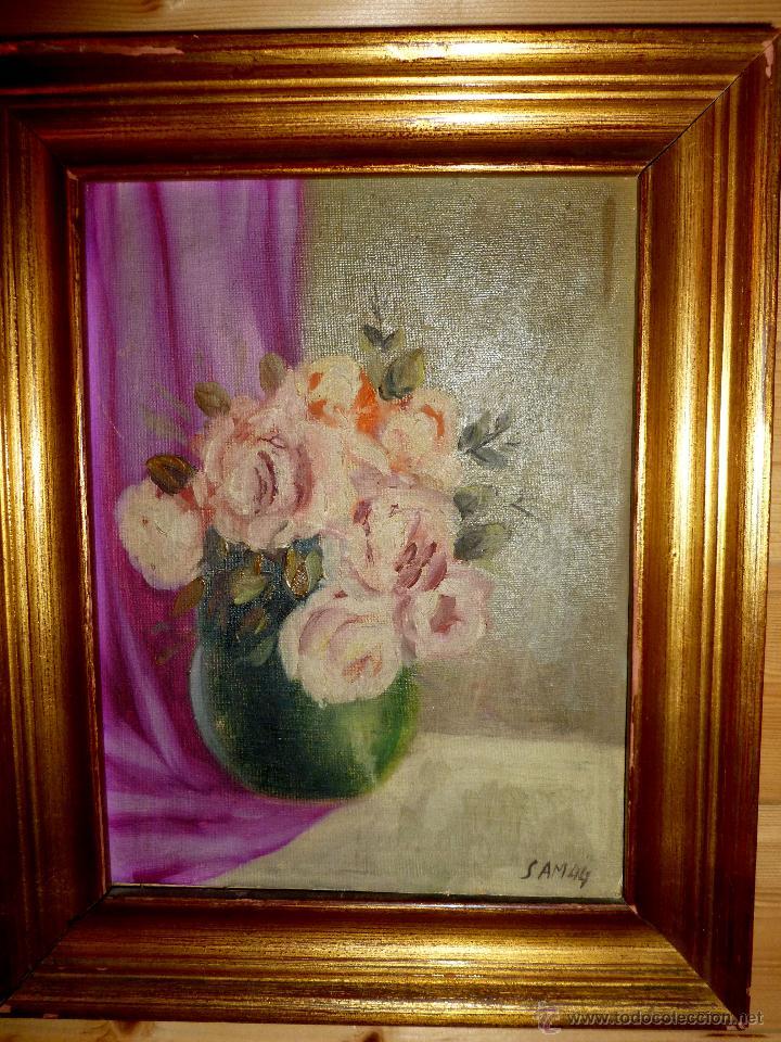 CUADRO * JARRÓN CON FLORES * SAM 44 (Arte - Varios Objetos de Arte)