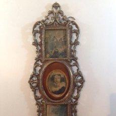 Varios objetos de Arte: ANTIGUO CUADRO EN BRONCE COMPOSICION DE 3 LIENZOGRAFIAS EN SEDA DE PRINCIPIO DEL SIGLO XX. Lote 50947461