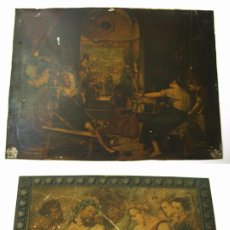 Varios objetos de Arte: 2 ANTIGUAS CHAPAS LITOGRAFIADAS. Lote 51158828