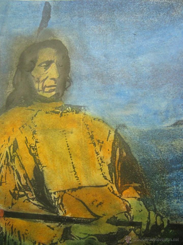 Varios objetos de Arte: Bella obra Gran Jefe Indios Americanos Siux Nube Roja - Foto 3 - 51227193