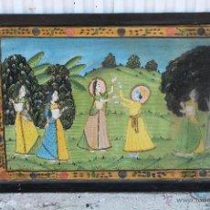 Varios objetos de Arte: CUADRO HINDU DE SEDA PINTADO A MANO. Lote 51672315
