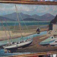 Varios objetos de Arte: ANTIGUA MARINA PINTANDA SOBRE UNA ESPECIE DE SACO, EL MARCO ESTÁ REGULAR. Lote 51719416