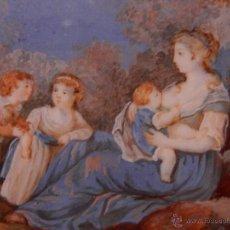 Varios objetos de Arte: MINIATURA SOBRE MARFIL. SIGLO XVIII. MUJER CON NIÑOS.. Lote 51724884