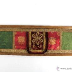 Varios objetos de Arte: C- 647. TELAS EN SEDA DE COLORES CON BORDADOS EN HILO DORADO. SIGLO XIX EN MARCO MADERA. Lote 51819515