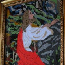 Varios objetos de Arte: CUADRO DE JESUCRISTO EN EL RÍO JORDÁN REALIZADO EN LANA. 52 CENTÍMETROS DE ALTURA. Lote 52824589