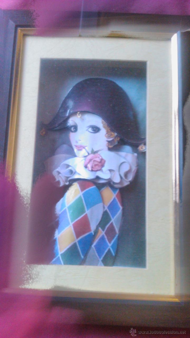 Varios objetos de Arte: Precioso cuadro pierrot en 3D colage. Capas sobrepuestas. Enmarcado. - Foto 2 - 53065573