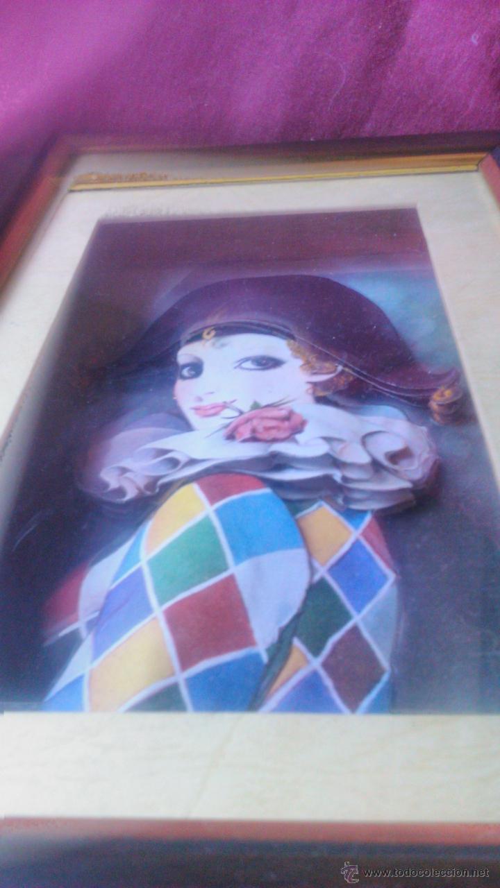 Varios objetos de Arte: Precioso cuadro pierrot en 3D colage. Capas sobrepuestas. Enmarcado. - Foto 3 - 53065573