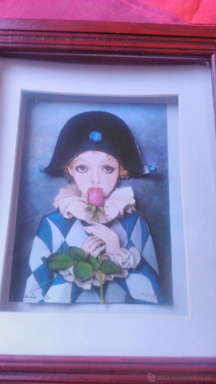 Varios objetos de Arte: PRECIOSO CUADRO PIERROT con una hermosa rosa EN 3D colage . CAPAS SOBREPUESTAS. ENMARCADO. - Foto 2 - 53066091