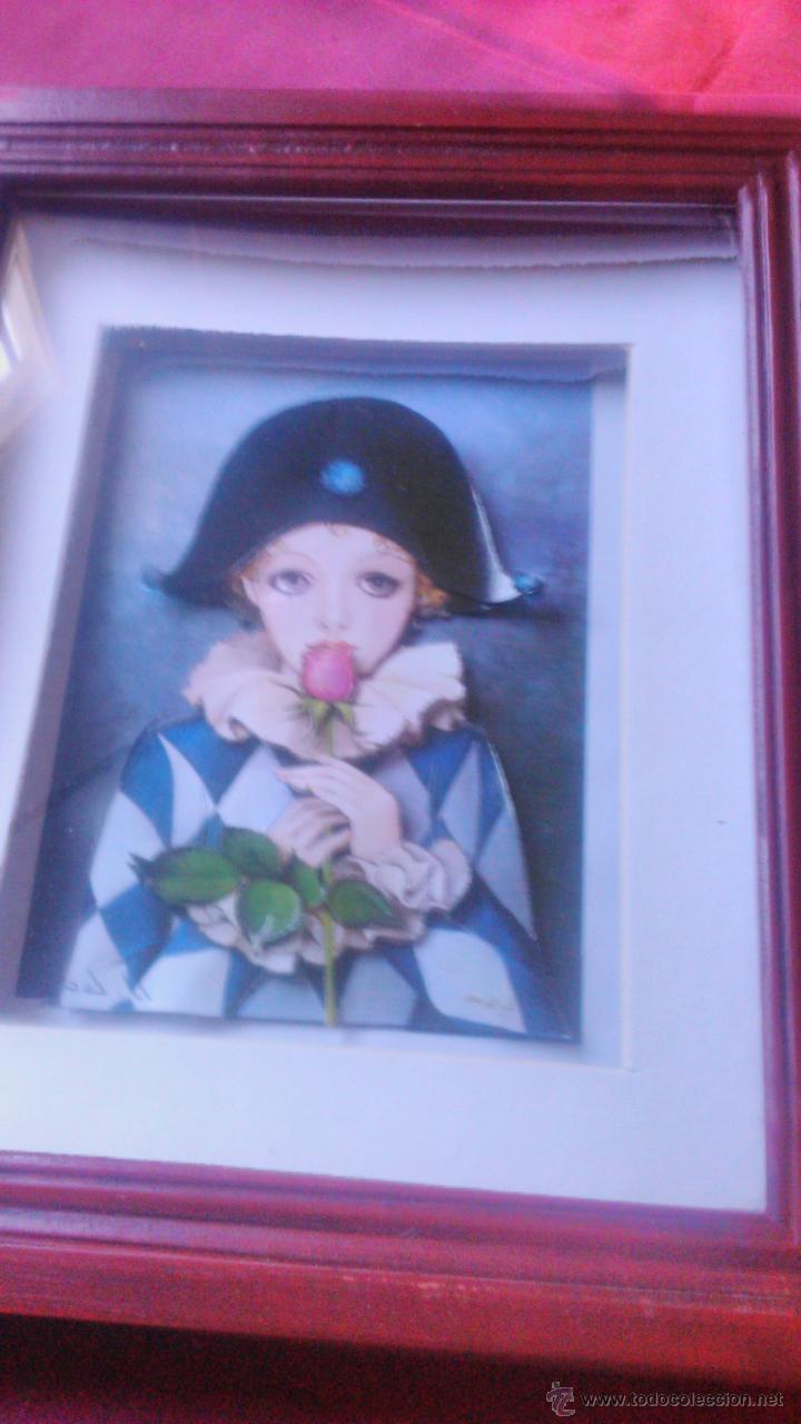 Varios objetos de Arte: PRECIOSO CUADRO PIERROT con una hermosa rosa EN 3D colage . CAPAS SOBREPUESTAS. ENMARCADO. - Foto 3 - 53066091
