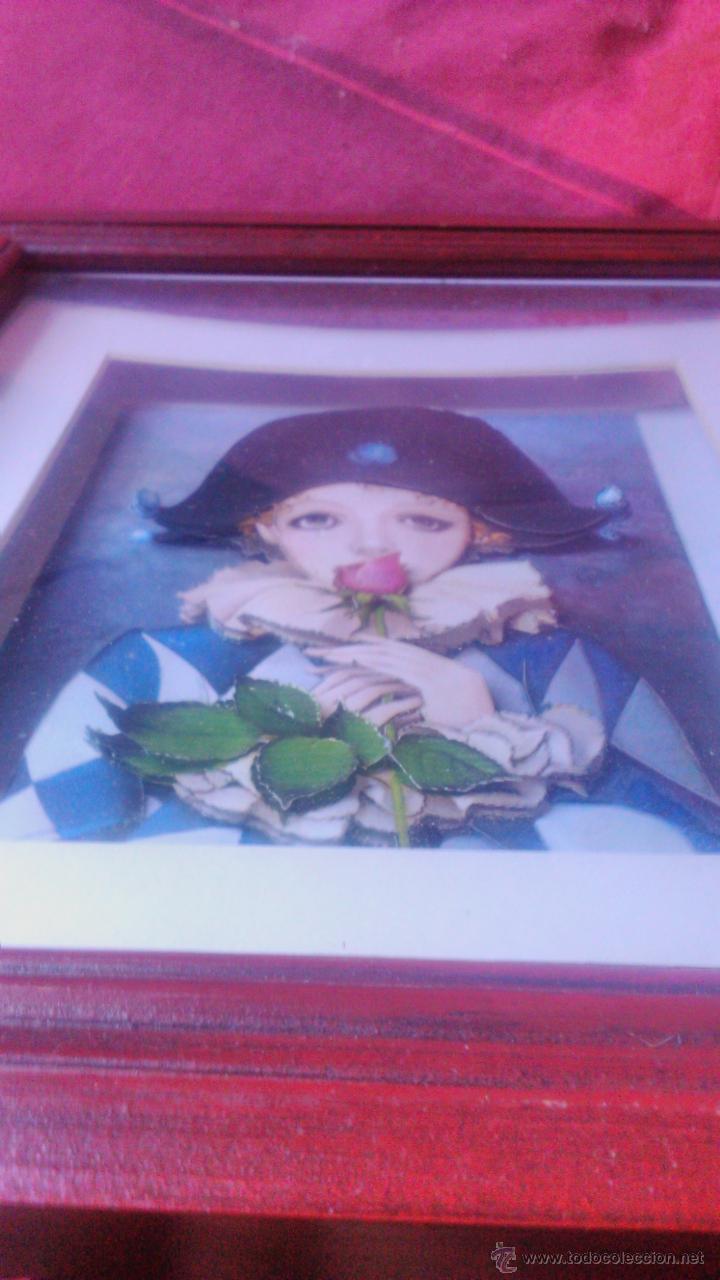 Varios objetos de Arte: PRECIOSO CUADRO PIERROT con una hermosa rosa EN 3D colage . CAPAS SOBREPUESTAS. ENMARCADO. - Foto 4 - 53066091