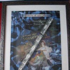 Varios objetos de Arte: CUADRO DEL CLUB DE LA ESCRITURA-HISTORIA DE UNA PLUMA-WATERMAN REGULAR Mº402 FLOWERS 1900-CON MARCO. Lote 53150346