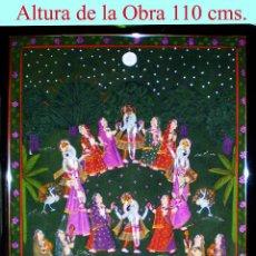 Varios objetos de Arte: GRAN PINTURA HINDU,S/ SEDA. BAILE Y OFRENDAS A CUATRO DEIDADES. COLORES CON ZUMOS DE FRUTAS.114 X 89. Lote 53253054