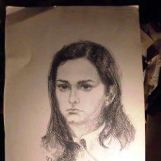Varios objetos de Arte: DIBUJO ANTIGUO CARBONCILLO RETRATO FEMENINO FIRMA VICENT ? ADUIRIDO . EN VALENCIA. Lote 53559664