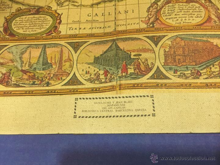 Varios objetos de Arte: REPRODUCION ARTISTICA NUMERADA SOBRE TELA LIENZO MAPA MUNDI SIGLO XVI - Foto 2 - 53788770