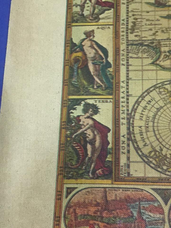 Varios objetos de Arte: REPRODUCION ARTISTICA NUMERADA SOBRE TELA LIENZO MAPA MUNDI SIGLO XVI - Foto 7 - 53788770