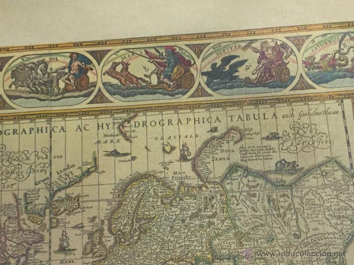 Varios objetos de Arte: REPRODUCION ARTISTICA NUMERADA SOBRE TELA LIENZO MAPA MUNDI SIGLO XVI - Foto 8 - 53788770