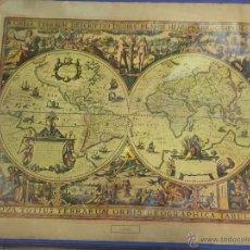 Varios objetos de Arte: REPRODUCION MUY ANTIGUA EN TELA LIENZO DEL MAPA DE LOS DOS HEMISFERIOS ,. Lote 53789845