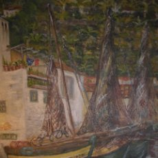 Varios objetos de Arte: OLEO PUERTO COSTERO CON PALMERAS PINTURA IMPRESIONISTA FIRMA MELLEN ? 1967. Lote 53805336