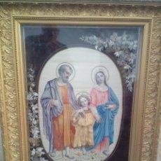 Varios objetos de Arte: MUY ANTIGUO CUADRO SAGRADA FAMILIA ( BORDADO EN SEDA ). Lote 53835229