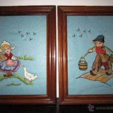 Varios objetos de Arte: PAREJA DE CUADROS CON NIÑOS BORDADOS A MANO. Lote 53897591