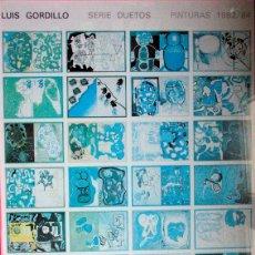 Varios objetos de Arte: LUIS GORDILLO. SERIE DUETOS. GALERIA FERNANDO VIJANDE. 1985. CARTEL DEDICADO Y FIRMA POR EL ARTISTA. Lote 53975479