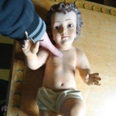 Varios objetos de Arte: 53 CM GRAN NIÑO JESUS ESTUCO OLOT OJOS CRISTAL TAMAÑO NATURAL PARA RESTAURAR IDEAL VIRGEN. Lote 54194304