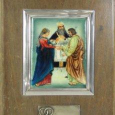 Varios objetos de Arte: O2-051. SANTA UNION EN ESMALTE POLICROMADO. MARCO Y PLACA EN PLATA. CIRCA 1950.. Lote 52476402