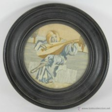 Varios objetos de Arte: 02-056. JOVEN CON LAUD. BORDADO SOBRE TELA. FIRMADO CARPACCIO. VENECIA. SIGLO XIX.. Lote 52784995