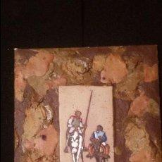 Varios objetos de Arte: MAGNIFICO CUADRO CERAMICO FIRMADO GUILLERMO SAINT GERMIER 27 X 35 CM QUIJOTE SANCHO P.V.P.170 E.. Lote 54851190