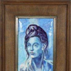 Varios objetos de Arte: O5-021. MUJER DE TOCADO ALTO. ESMALTE SOBRE METAL. SIGLO XX.. Lote 54741139